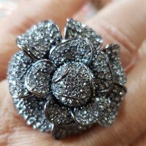 Vintage smoke rhinestone flower ring